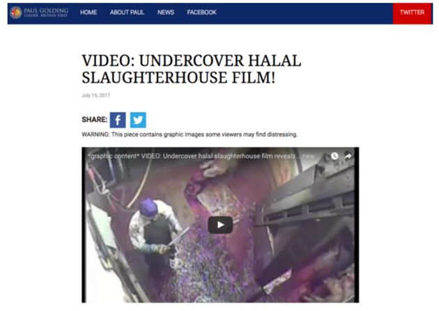 Britain First shared footage inside a slaughter house they claimed was halal, even though it showed the...