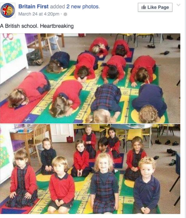 A picture Britain First shared, implying that British school children were being taught