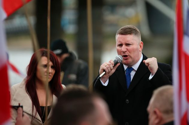 Jayda Fransen and Paul Golding during a march in London on April 1,