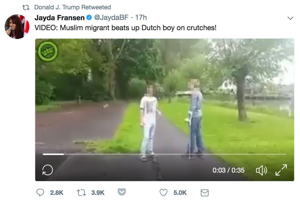 One of the videos shared by Fransen claimed to show a Muslim