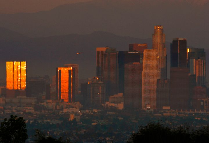 Smog and haze in Los Angeles.