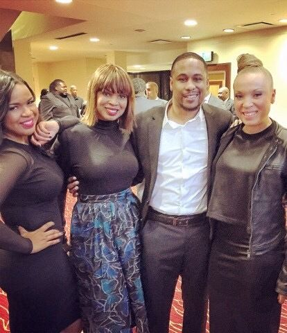 Jason Hardy with former clients and sister trio Virtue at the 2015 BMI Trailblazers of Gospel Awards in Atlanta, Georgia