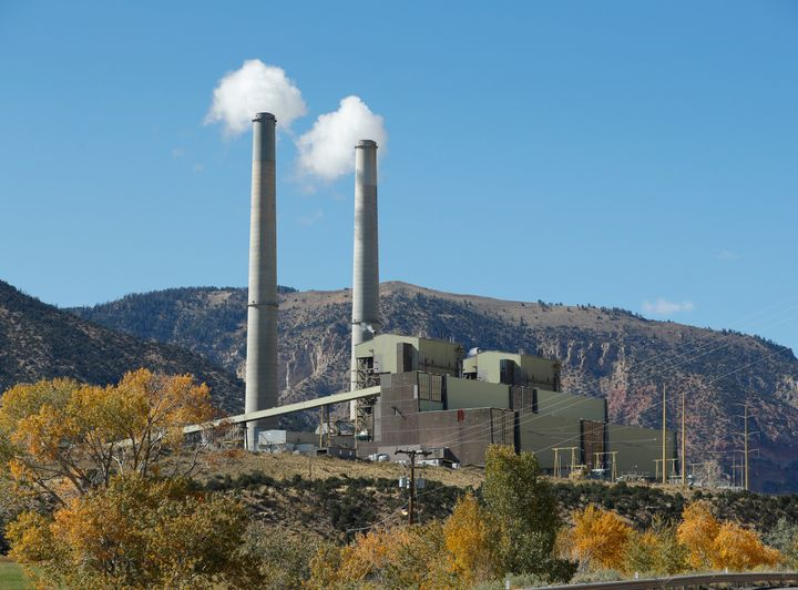 Smokestacks at PacifiCorp's coal-fired power plant outside Huntington, Utah.