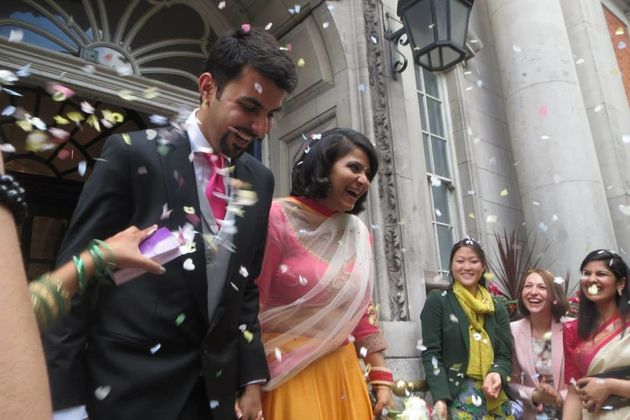Satbir and Gitanjali Singh on their wedding day in London in