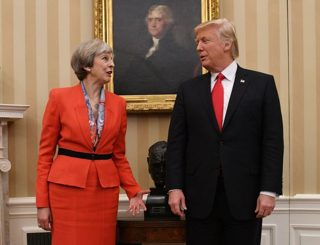 Theresa May and Donald Trump at the White House in