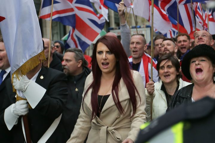 Jayda Fransen, deputy leader of the far-right organization Britain First, participates in a march in central London on April