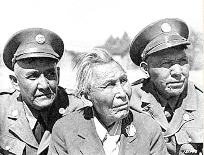 <em>Army code talkers (left to right) Cpl. Jim Lane, Cpl. John Rope and Cpl. Kassey Y-32 pose for a photo at Fort Huachuca,