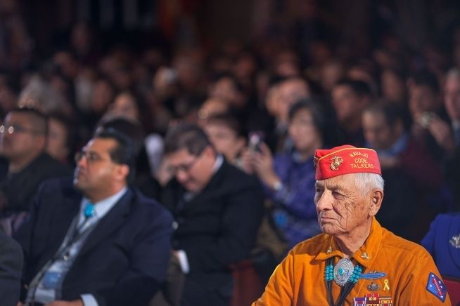 <em>Navajo Code Talker Thomas Begay at White House Tribal Nations Conference</em>
