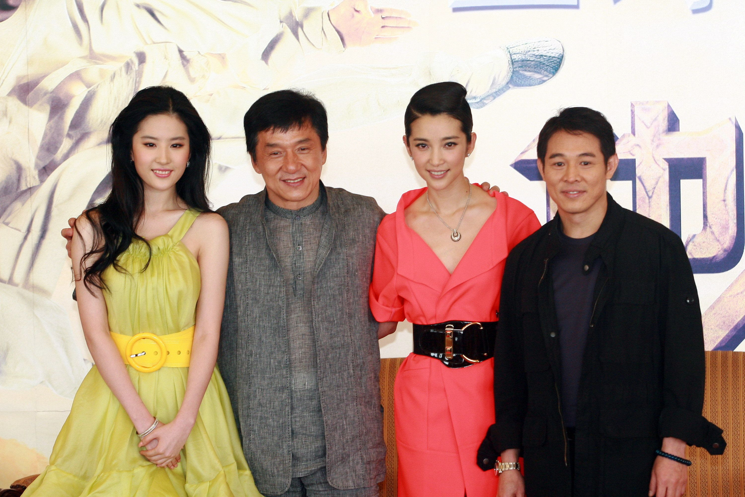VCG via Getty Images Actors Jet Li Jackie Chan and Liu Yifei at the premiere of