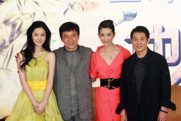 """Actors Jet Li, Jackie Chan and Liu Yifei at the premiere of """"The Forbidden Kingdom"""" in 2008."""