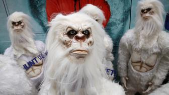 """Actors dressed as a 'Yeti' attend a promotional event for Travel Channel's """"Expedition Unknown: Hunt for the Yeti"""" in Manhattan, New York City, U.S., October 4, 2016.  REUTERS/Brendan McDermid"""