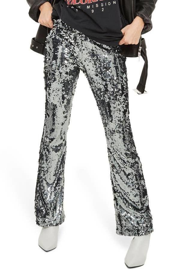 "Get them <a href=""https://shop.nordstrom.com/s/topshop-premium-sequin-flare-leg-trousers/4831139?campaign=1127WeartoWhereEXP&"