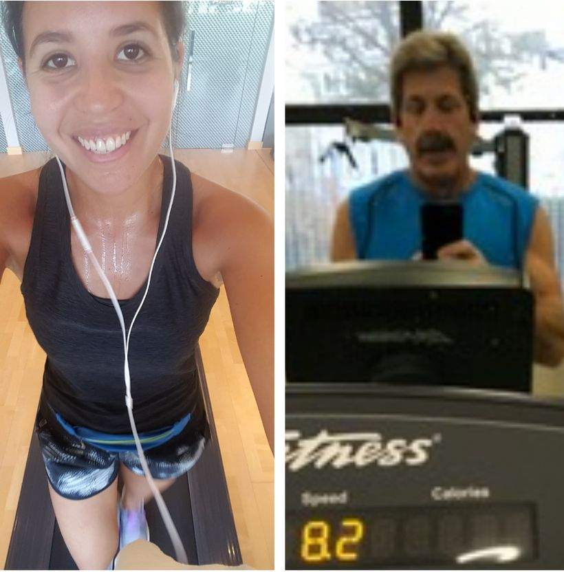 Judith Landgren and Les Abend working out with Aaptiv app