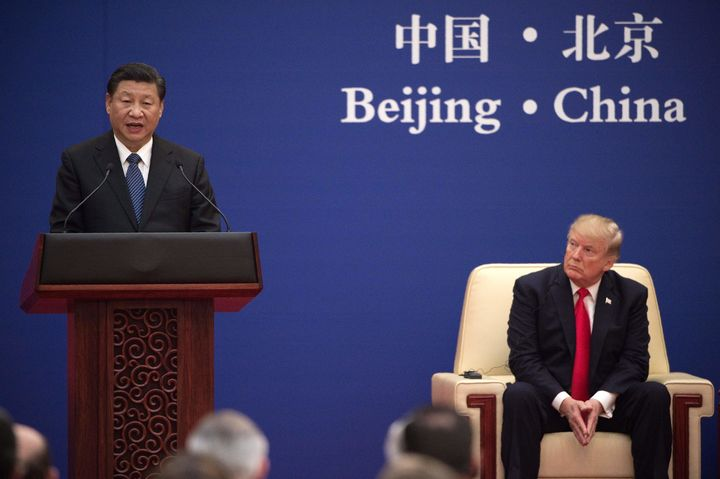 Chinese President Xi Jinpingat a business leaders event in Beijing attended by U.S. President Donald Trump onNov.
