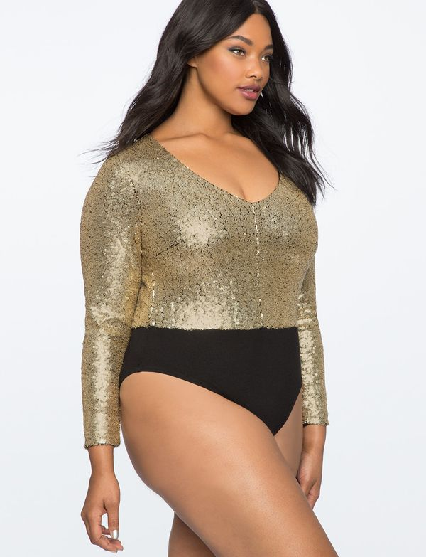 Eloquii carries up to size 24 in more upscale (read: sequined, satin) bodysuits as well as lacy lingerie bodysuits. They're c