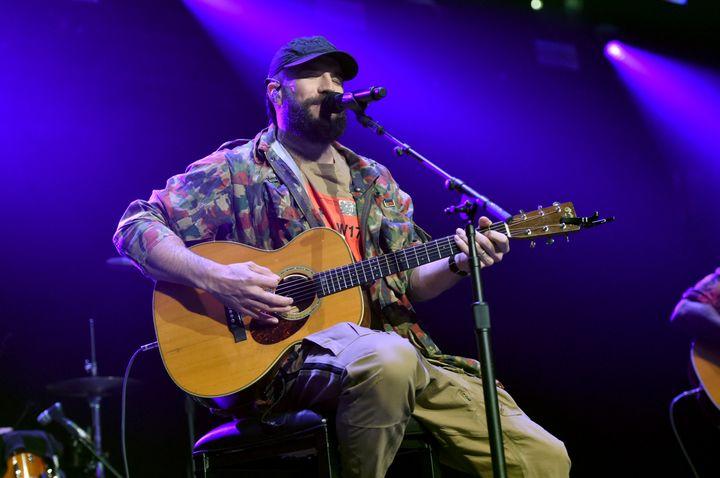 Sam Hunt performing at a benefit concert in Nashville, Tennessee, on Nov. 12.
