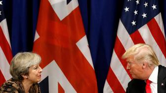 U.S. President Donald Trump meets with British Prime Minister Theresa May during the U.N. General Assembly in New York, U.S., September 20, 2017. REUTERS/Kevin Lamarque     TPX IMAGES OF THE DAY