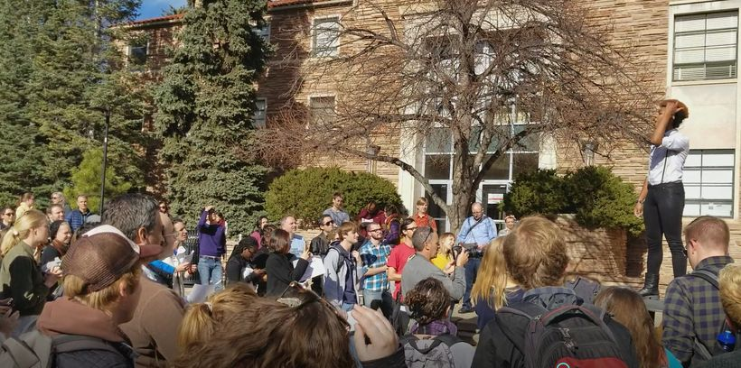 Graduate students, faculty, and school administrators at the #SaveGradEd #GradTaxWalkOut rally at CU Boulder
