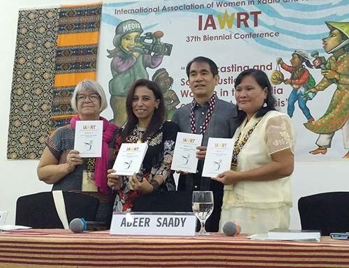<em>Screen shot of Abeer Saady (second from left) launching her book</em>