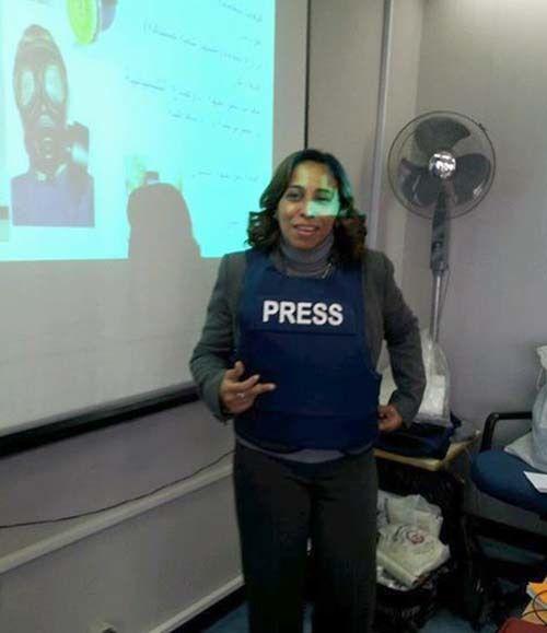 <em>Training journalists to stay safe (courtesy Saady)</em>