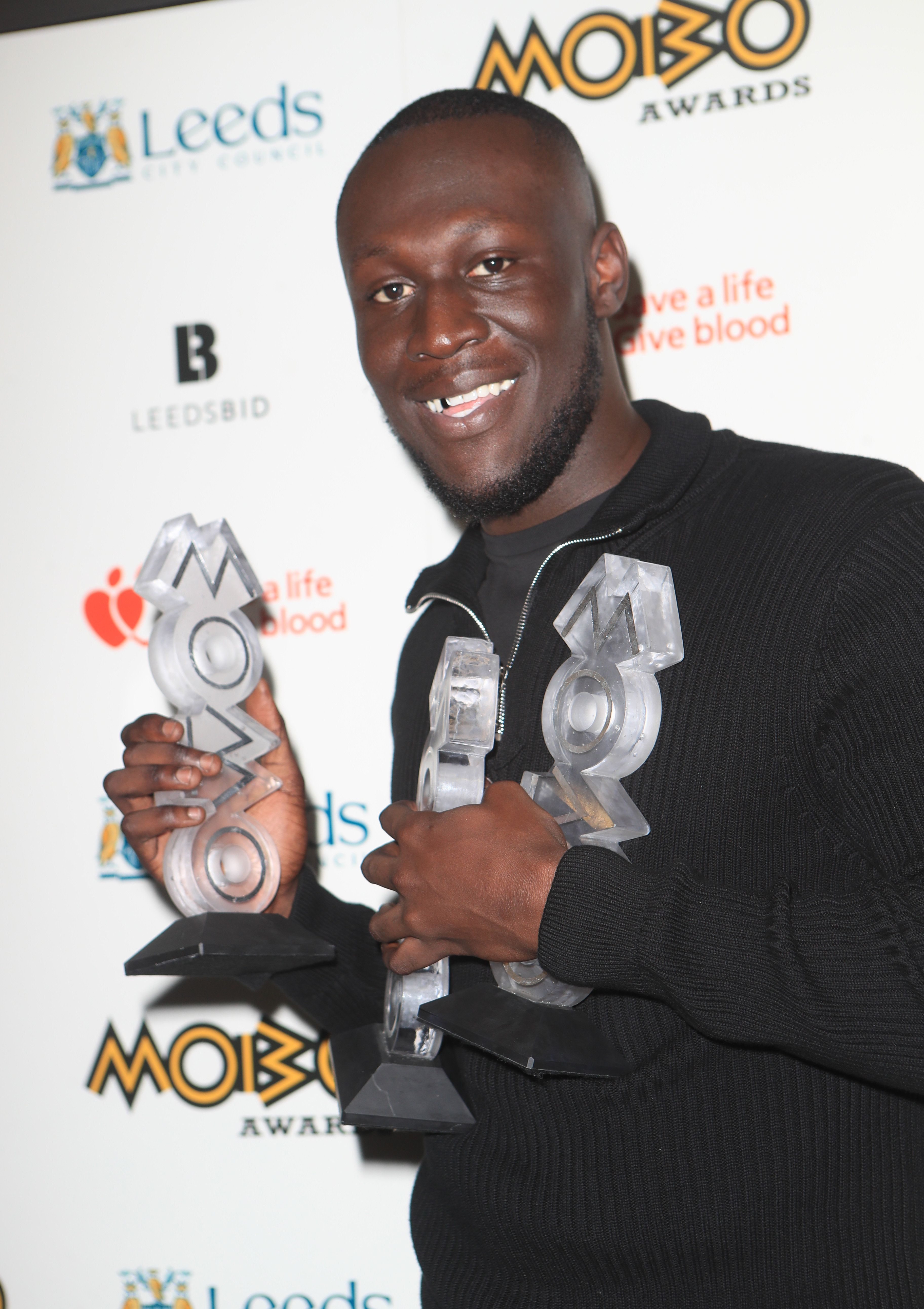Stormzy with his three Mobo