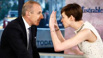 TODAY -- Pictured: (l-r) Matt Lauer and Anne Hathaway appear on NBC News' 'Today' show -- (Photo by: Peter Kramer/NBC/NBC NewsWire via Getty Images)
