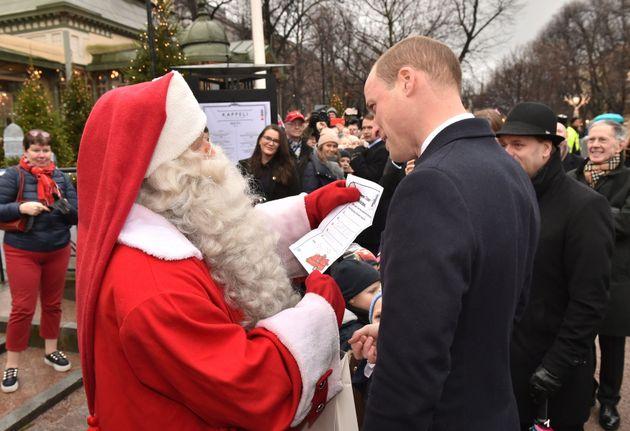 Duke Of Cambridge Hands Santa Prince George's Christmas List (And His Handwriting Is