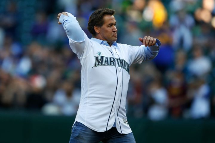 Bret Boone, pictured throwing out a ceremonial first pitch in 2016, just