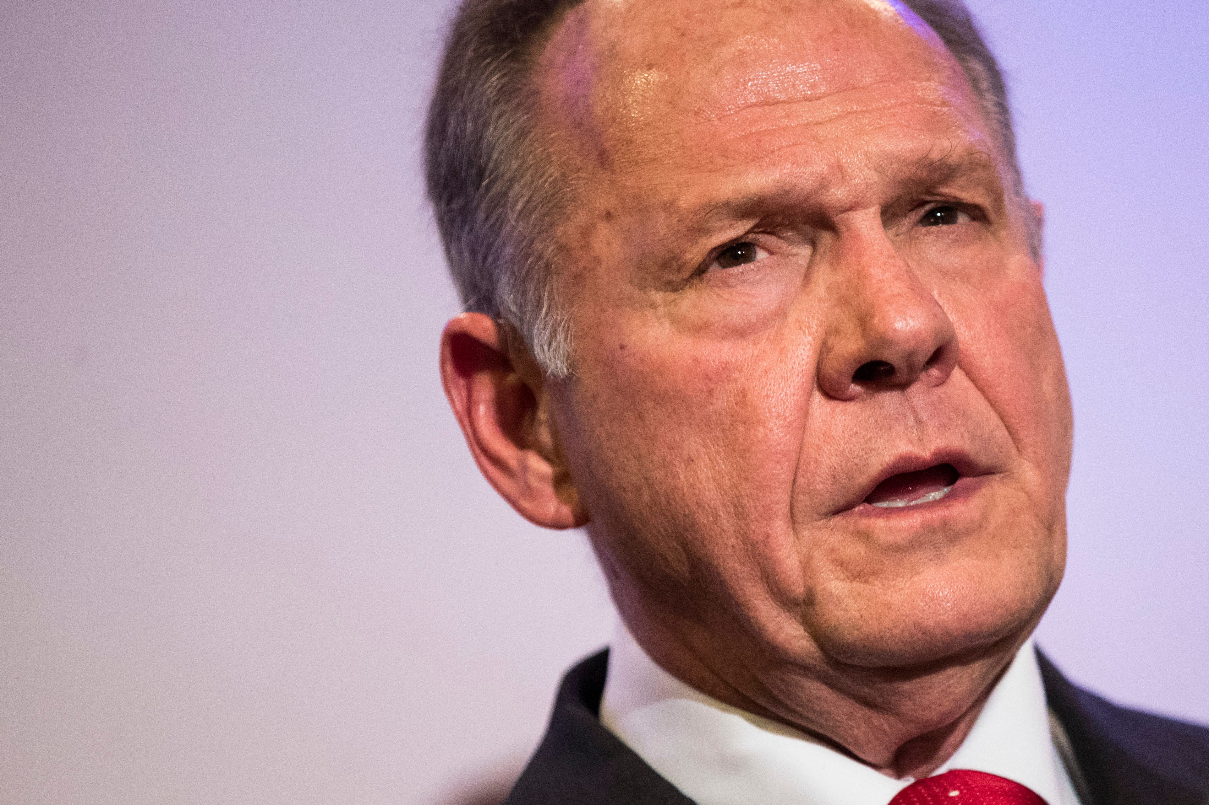 Roy Moore speaks during a news conference on Nov. 16, 2017, in Birmingham, Alabama.