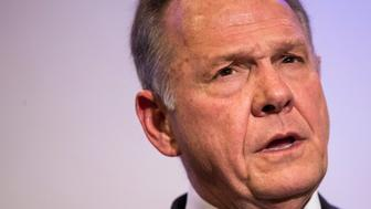 BIRMINGHAM, AL - NOVEMBER 16: Republican candidate for U.S. Senate Judge Roy Moore speaks during a news conference with supporters and faith leaders, November 16, 2017 in Birmingham, Alabama. Moore refused to answer questions regarding sexual harassment allegations and pursuing relationships with underage women. (Drew Angerer/Getty Images)