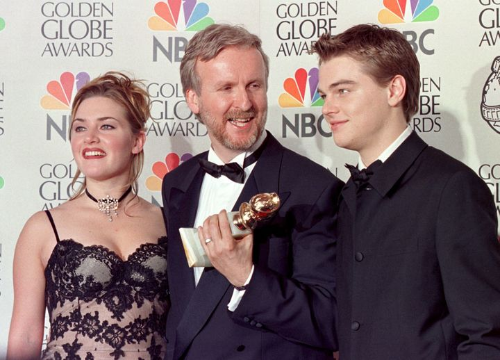 Kate Winslet, James Cameron and Leonado DiCaprio at the 55th Annual Golden Globe Awards.