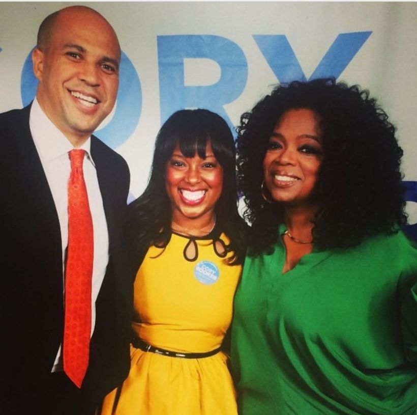 Dreena Whitfield with former boss, then Mayor Cory Booker and Oprah Winfrey at a local fundraiser