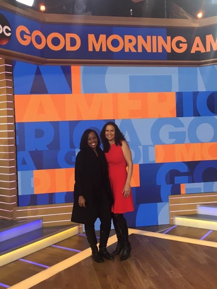 "Dreena Whitfield with client, Tanya VanCourt on the set of ""Good Morning America"" following her 2016 appearance"