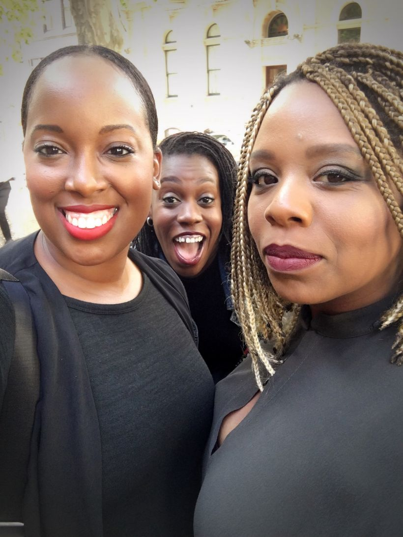 "Dreena Whitfield with clients Tiffany ""Budgetnista"" Aliche, and Patrisse Cullors, co-founder of Black Lives Matters in Sydney"