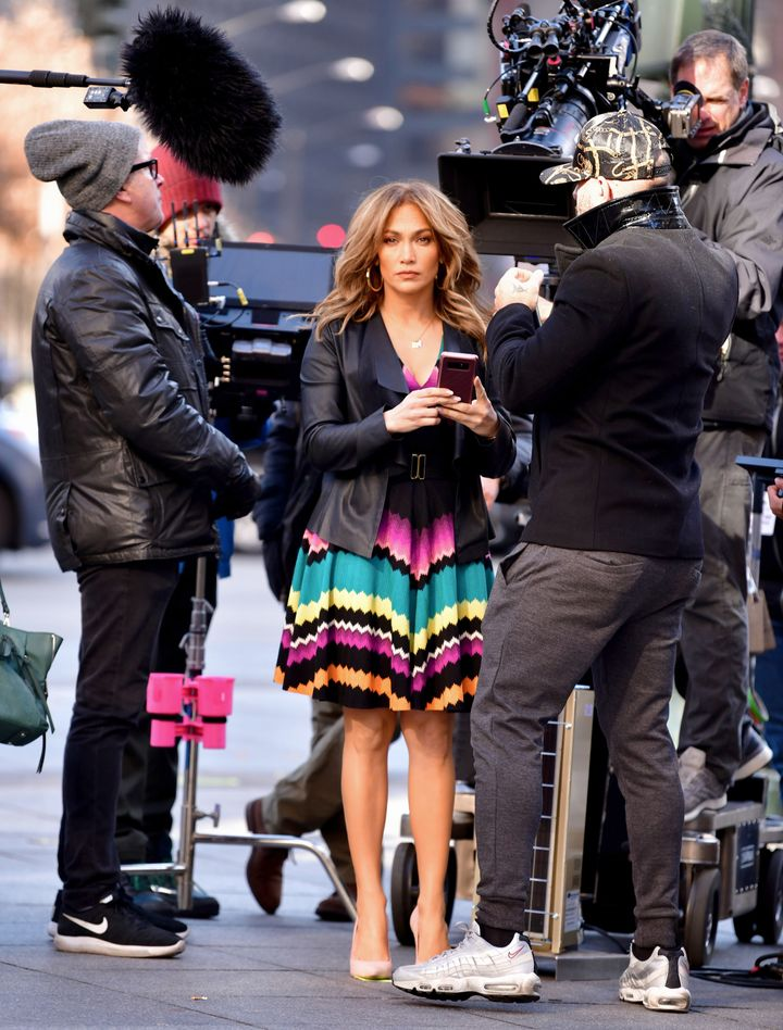 Jennifer Lopez seen on location for 'Second Act' at the World Trade Center on November 28, 2017 in New York City.