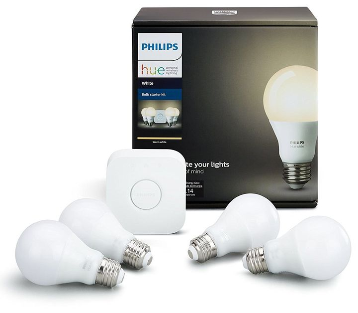 "Philips Hue white smart bulb starter kit, <a href=""https://www.amazon.com/Philips-Starter-Compatible-HomeKit-Assistant/dp/B07354SP1C/ref=sr_1_5?s=hi&ie=UTF8&qid=1512063261&sr=1-5&keywords=philips+hue+white+starter+kit"" target=""_blank"">$93 at Amazon</a>"