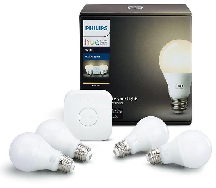 "Philips Hue white smart bulb starter kit, <a href=""https://www.amazon.com/Philips-Starter-Compatible-HomeKit-Assistant/dp/B07"