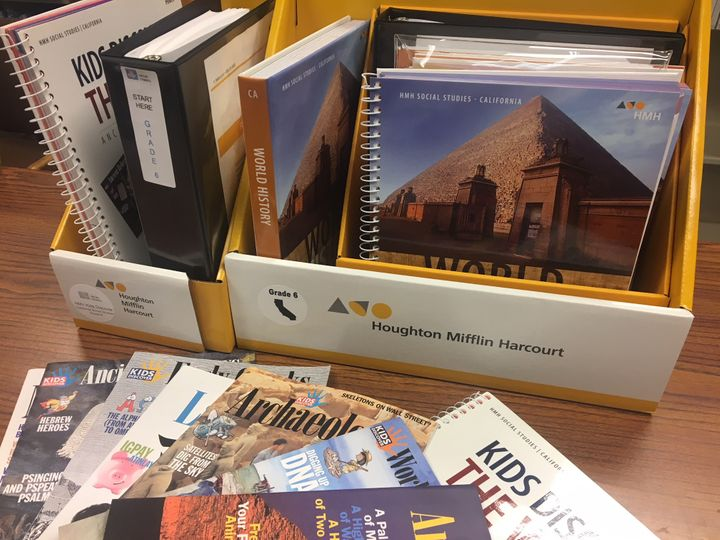 California-aligned 6th  grade history and social studies  texts and teacher editions from the publisher Houghton Mifflin Harc