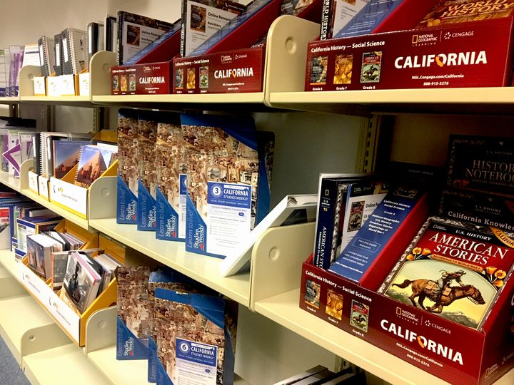 New history and social studies texts and materials from various  publishers are on display at the Santa Clara County of Offic