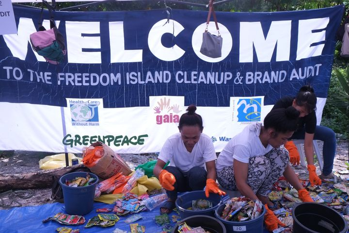<em>Volunteers taking part in the Freedom Island cleanup and brand audit.</em>