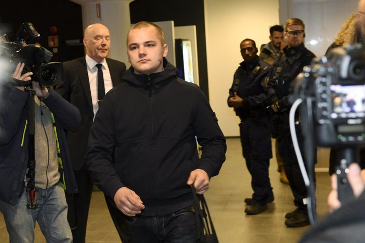 Jesse Torniainen, a member of the Nordic Resistance Movement, pictured in a Finnish court after he kicked a man in the c