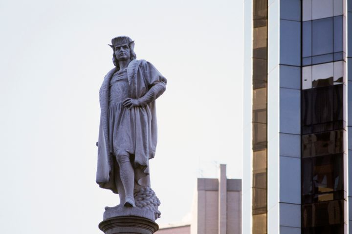 A monument to Christopher Columbus in Manhattan.