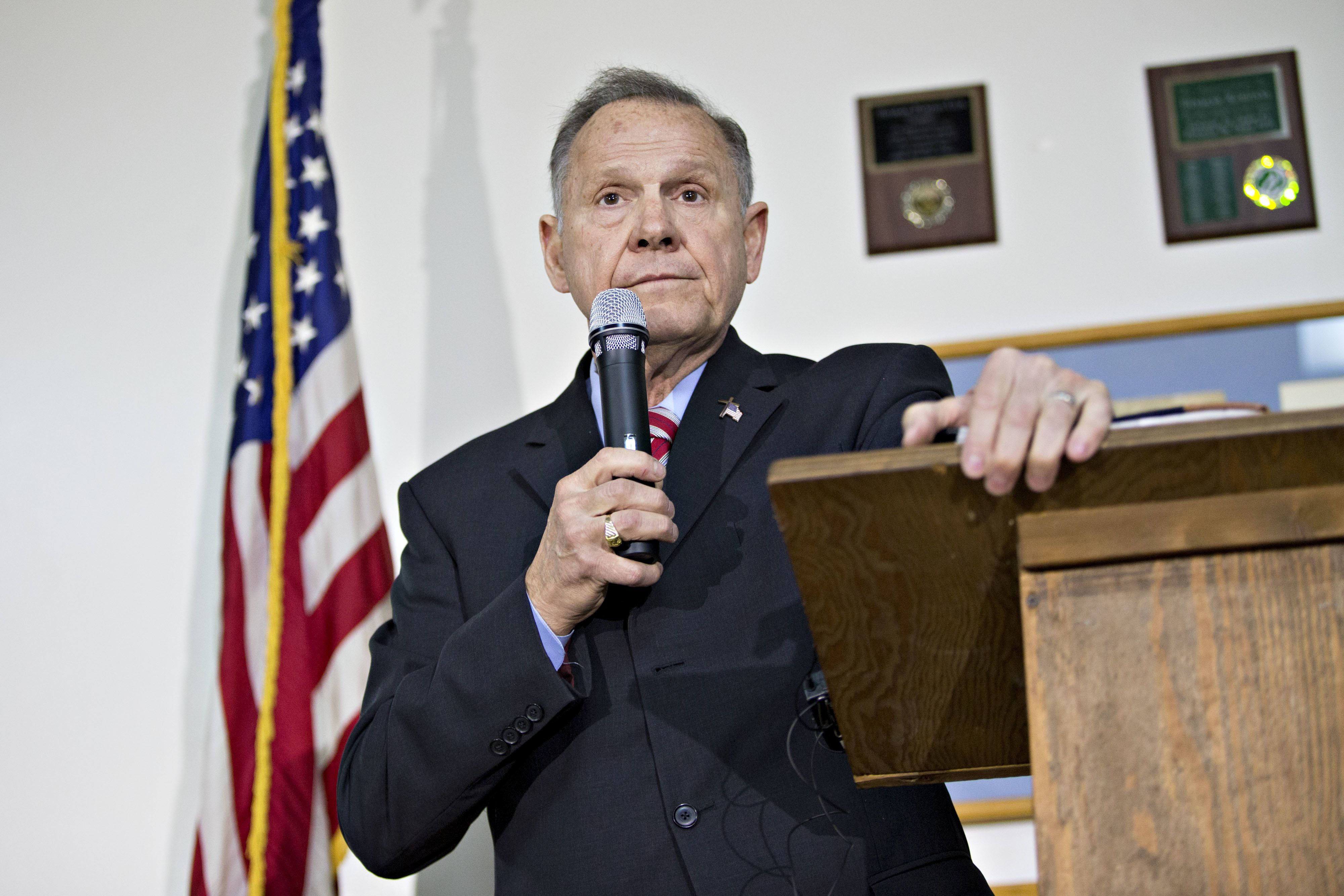 Roy Moore, Republican candidate for U.S. Senate from Alabama, pauses while speaking during a campaign rally in Henagar, Alaba