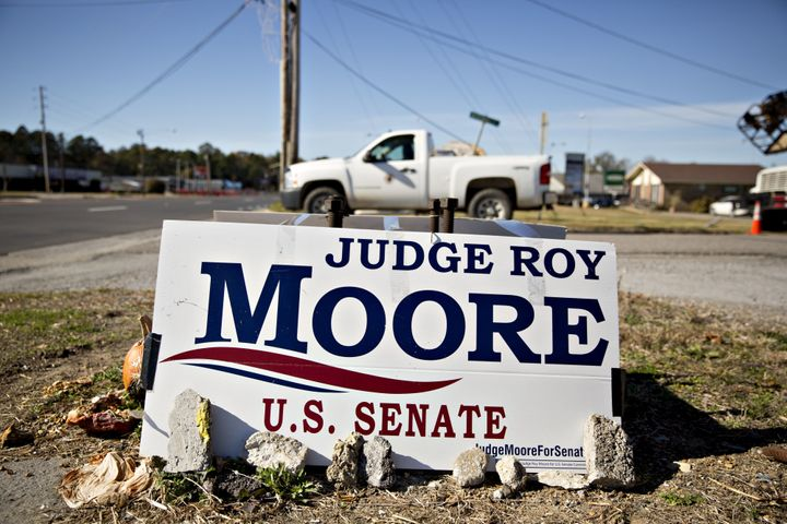 A campaign sign for Roy Moore, Republican candidate for U.S. Senate from Alabama, stands in Centre, Alabama, U.S., on Monday,