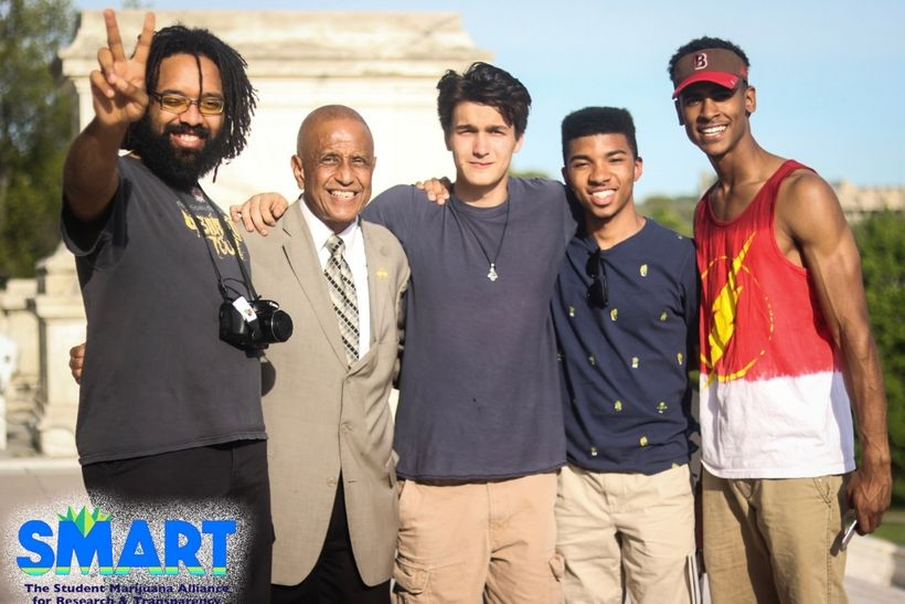 Nadir Pearson (R) and his SMART team at the Rhode Island Legalization Rally