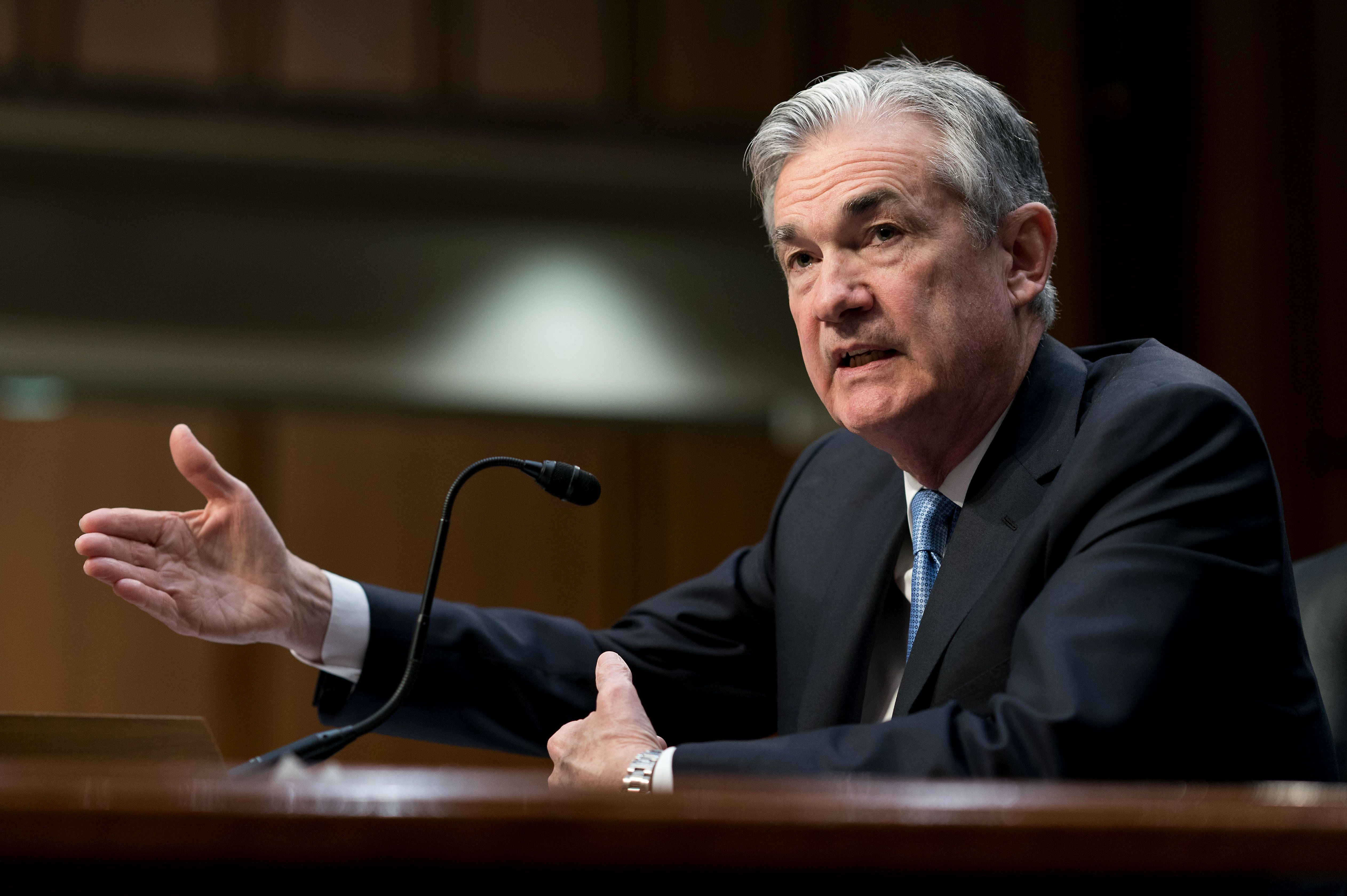 Jerome Powell, President Donald Trump's nominee to become Federal Reserve chairman, testifies before the Senate Banking Commi