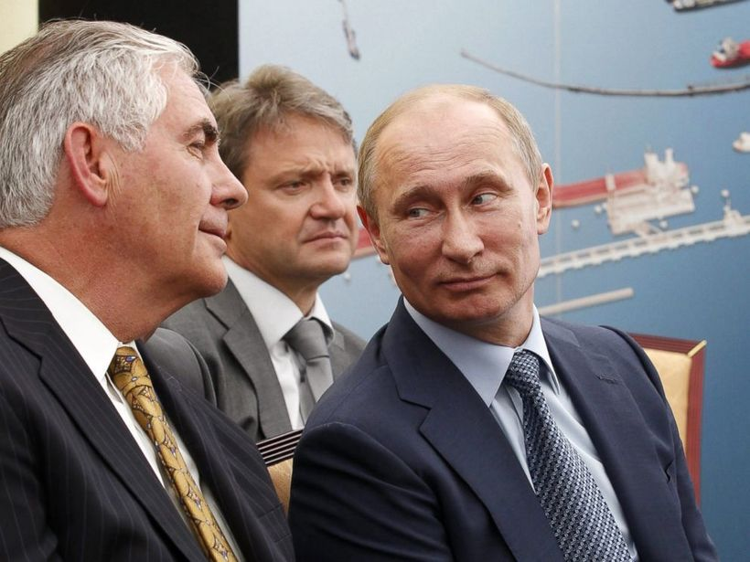 Instead of facing jail time for ExxonMobil's lies about climate change, Rex Tillerson (left) is now the U.S. Secretary of Sta