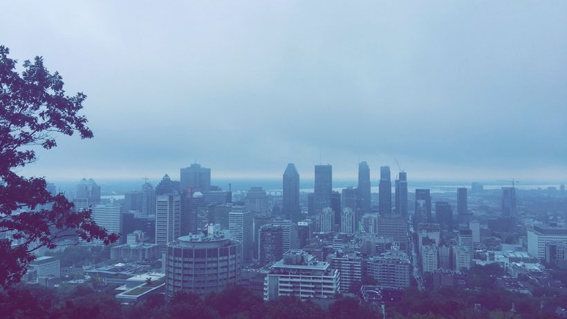 View of Montreal from Mont Royal's  Kondiaronk Belvedere.