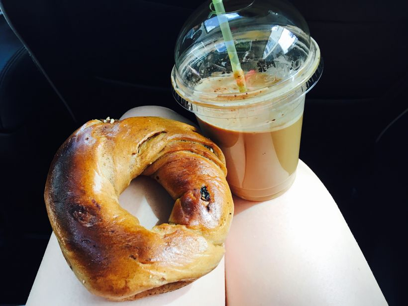 St-Viateur raisin bagel and iced mocha.