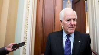 UNITED STATES - NOVEMBER 1: Sen. John Cornyn, R-Texas, speaks with reporters outside of his office in the Capitol on Wednesday, Nov. 1, 2017. (Photo By Bill Clark/CQ Roll Call)